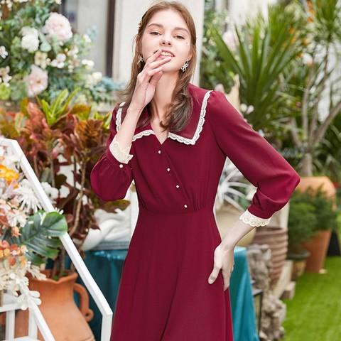 法式雪纺连衣裙女气质赫本风收腰显瘦娃娃领裙