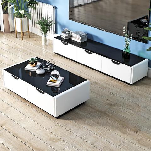 轩亿 现代简约时尚钢化玻璃烤漆客厅小户型茶几电视柜套装组合