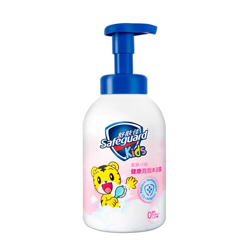 Safeguard 舒肤佳 儿童泡沫沐浴露 巧虎柔肤小粉500ml 棉花糖沐浴露(富含氨基酸 pH温和 宝宝可用)