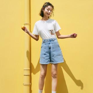 LED'IN 乐町 奇奇蒂蒂联名系列 女士刺绣短袖T恤 CWDAA1249
