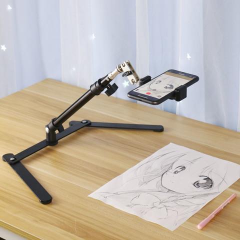 手机俯拍支架桌面直播拍摄手机架补光灯录像书法写字教学网课画画美食开箱扫描视频抖音神器多功能支撑架设备
