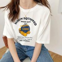港味复古短袖印花T恤女拉夏贝尔旗下2021夏季新款纯棉休闲他