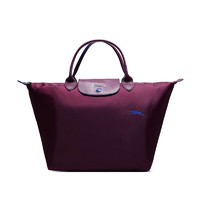 LONGCHAMP 珑骧 2019新品 女士LE PLIAGE系列紫红色织物中号短柄可折叠手提包 1623 619 P22
