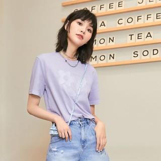 ONLY 2021春季新款时尚宽松舒适印花工艺百搭短袖T恤女|121201123