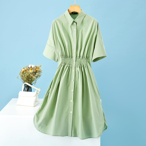 拉夏贝尔旗下女式连衣裙夏季五分袖宽松衬衫领单排扣收腰气质裙子
