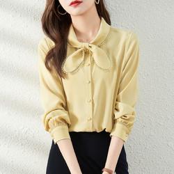 沫晗依美 甜美气质雪纺衬衫女士2021春季新款韩版显瘦时尚百搭长袖衬衫