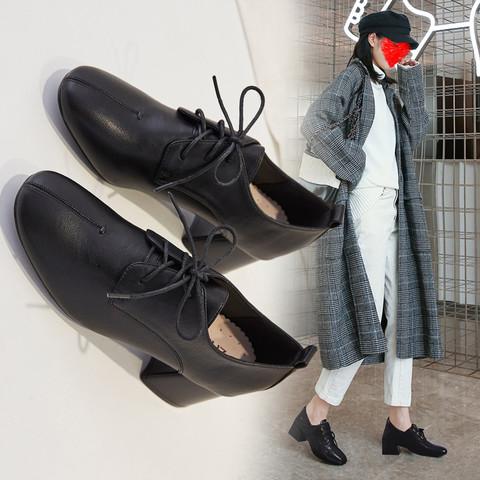 新款粗跟通勤鞋商务英伦风小皮鞋子女高跟鞋女单鞋女鞋