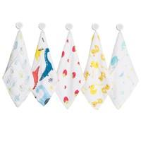 洁丽雅纱布毛巾 婴儿口水巾儿童宝宝洗脸小方巾新生婴儿全棉用品