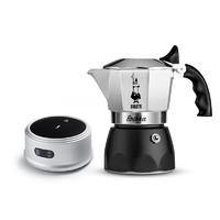 Bialetti比乐蒂摩卡壶咖啡壶双阀高压特浓咖啡壶家用手冲意式滴滤摩卡壶 4杯份+新电陶炉(银灰色)