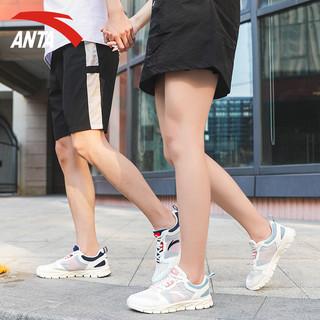 安踏 情侣运动鞋2021新款女鞋男鞋官网旗舰休闲网面透气夏季跑步鞋  象牙白/黄橙-男款 39