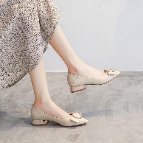 真皮鞋垫单鞋女低跟尖头英伦高跟鞋粗跟浅口增高一脚蹬爆款
