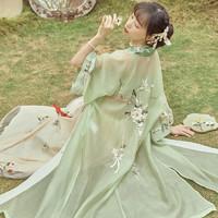 十三余小豆蔻儿[玉蕊仙]刺绣对襟长衫吊带褶裙宋制汉服女春