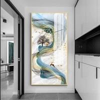 嘉恒艺 玄关装饰画铝合金晶瓷画山水画 A01款 50*100cm 华贵金