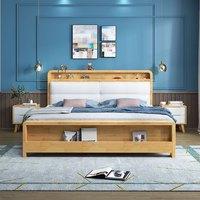 一米色彩 现代简约皮靠垫实木床 1.8m