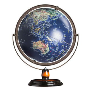 fun globe 地球仪32cm高清3D立体中英文浮雕大号 32CM深蓝色带AR(720° 充电款外框咖啡色)