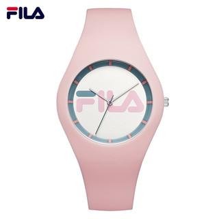 斐乐(FILA)手表时尚运动果冻硅胶带情侣表简约防水男女腕表学生手表 粉色FLL38-671-004