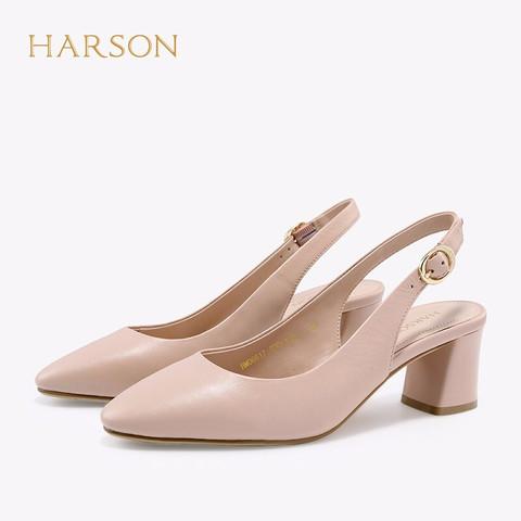 哈森 春季羊皮革尖头一字带凉鞋女 优雅粗跟单鞋 HM06617 粉色 35