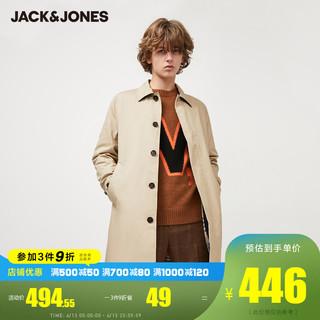 JackJones 杰克琼斯 休闲纯色风衣中长款春潮流外套男装春220121516 175/96A/M C09卡其色