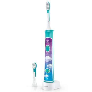 飞利浦(PHILIPS)儿童电动牙刷HX6322 6312儿童软毛专用3-15岁用自动牙刷2种强度 HX6312蓝色-2种力度-基础标准款