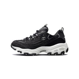 斯凯奇 女鞋丝绒熊猫鞋老爹鞋春季女运动鞋 黑色/白色 35.5