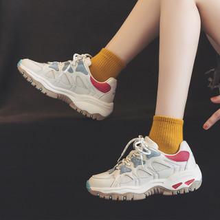 WARRIOR 回力 运动休闲鞋透气网面跑步鞋复古潮流女鞋老爹鞋 米月 36