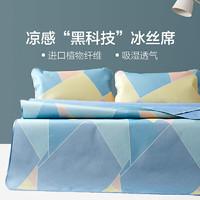 水星出品 百丽丝家纺 单双人印花冰丝席二/三件套舒适折叠冰丝凉席(120*195cm)