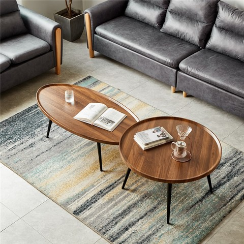 北欧轻奢小户型客厅茶几简约现代家用圆形小茶几酒店创意沙发边几