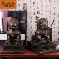 班德拉斯  纯铜狮子摆件一对公母守门狮子宫门狮子家居办公室装饰