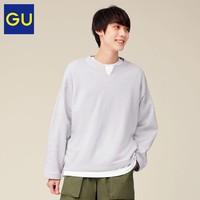 GU 极优 GU极优男装宽版尖开领套头卫衣2021春季新款时尚潮流卫衣男333566