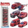 1:64合金消防军事工程车消防救援6件套