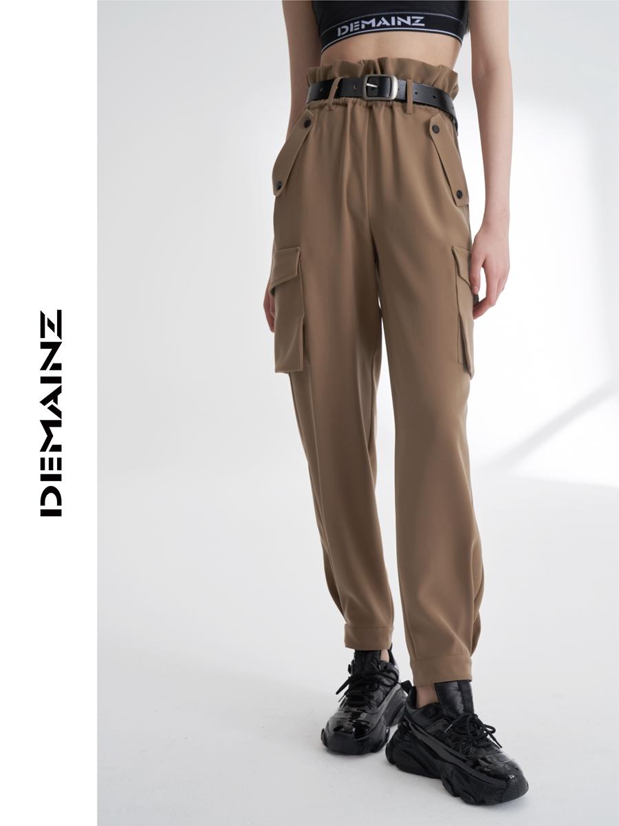 DEMAINZ2021年春新款设计感荷叶边ins潮流工装风口袋宽松长裤女