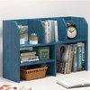 全米 书架置物架桌上学生收纳储物架简易桌面小架子家用简约书柜书桌架 蓝松木63cm