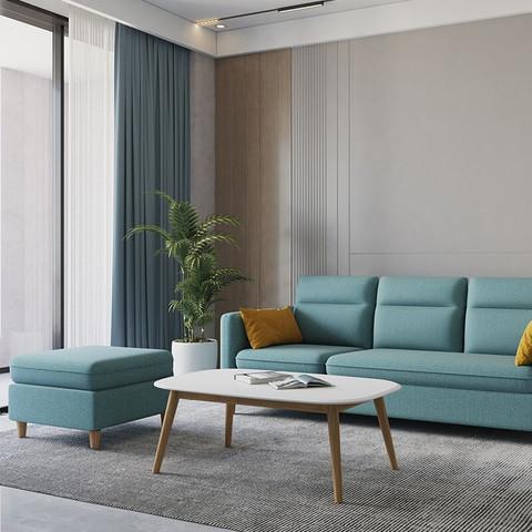 掌上明珠家居 现代客厅茶几 简约奶白色面板 木纹色实木腿 ESC638-A茶几1100