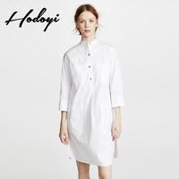 hodoyi可盐可甜气质简约休闲立领九分袖宽松衬衫式白色连衣裙女