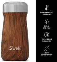 swell 四维 S'well 10312-B17-00820 不锈钢旅行杯, 12盎司(约354.88ml), 柚木