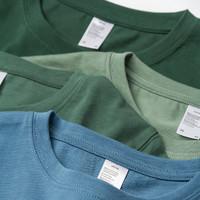 300g重磅纯棉圆领T恤女夏宽松莫兰迪色雾霾蓝短袖男新疆长绒棉