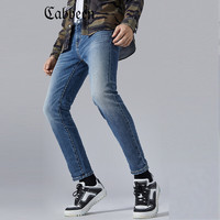 CABBEEN 卡宾 卡宾男装蓝色休闲牛仔裤2020秋冬简约时尚街头修身窄脚款S 天蓝色37 36