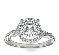 BLUE NILE 铂金 Monique Lhuillier 扭纹无限式钻石订婚戒指(1\/4 克拉总重量)