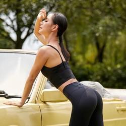 SYLPHLIKE LOLI 暴走的萝莉 运动内衣女细肩带美背bra防震聚拢跑步瑜伽健身文胸 LLWX03557 午夜黑 M