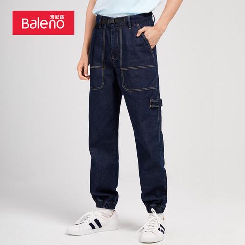 Baleno 班尼路(Baleno)2021春季牛仔裤宽松束脚长裤男士潮ins工装裤男裤子韩版 000D M