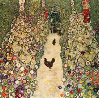 克里姆特《有母鸡的园中小径》60×60cm 装饰画 油画布