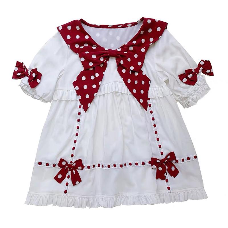 sheep puff 绵羊泡芙 Lolita洛丽塔 小波点衬衫 女士短袖衬衫 红色 M