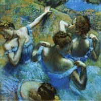 埃德加·德加《蓝色舞者》73×74cm 装饰画 油画布
