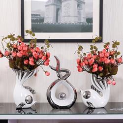 Hoatai Ceramic 华达泰陶瓷  欧式陶瓷花瓶 情侣鱼+玫瑰花苞+招财进宝