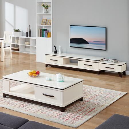 QuanU 全友 120709 简约北欧小户型茶几+电视柜