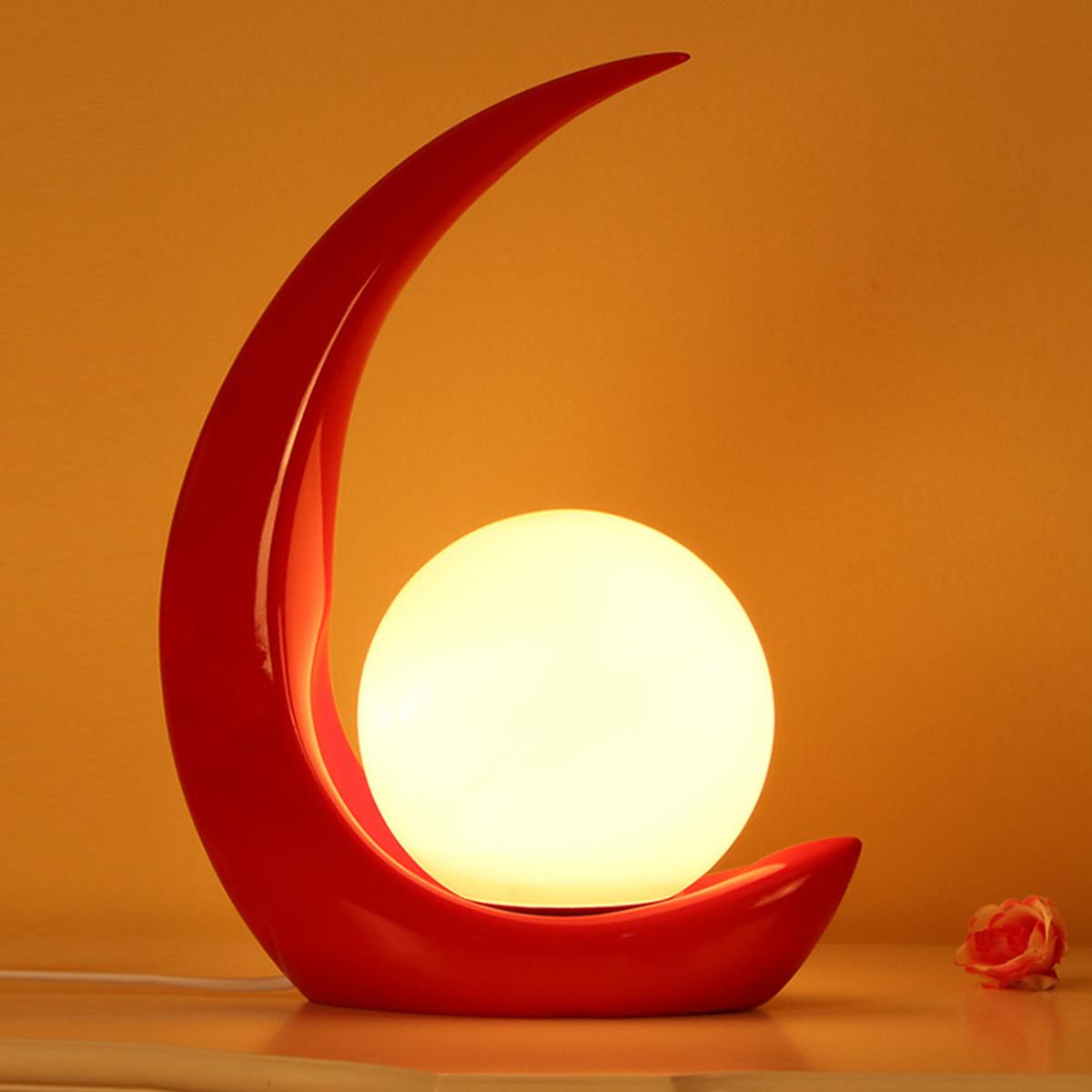 紫矜语 创意月亮树脂卧室床头灯