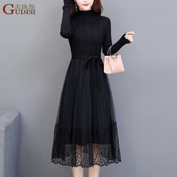 古地斯 GuDiSi连衣裙女2021春装女黑色网纱蕾丝假两件长袖中长款打底毛衣针织裙GDS2189 黑色 XL