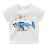儿童短袖t恤纯棉 男女童T恤衫打底单上衣夏季童装 G021-星星鲸鱼 130