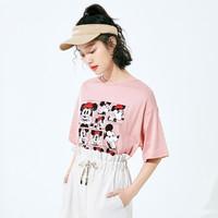LEDIN 乐町 ×迪士尼联名款 CWDAA2C2010 女士宽松印花T恤