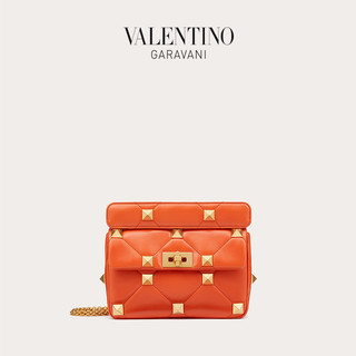 VALENTINO GARAVANI/华伦天奴 Roman Stud 中号纳帕羊皮革大钉包 橙色